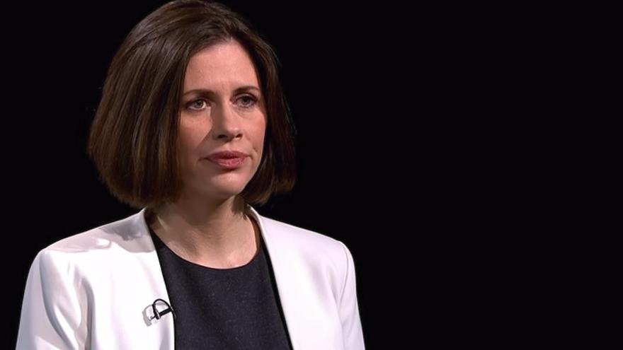 Helen Evans, exdirectora de seguridad global de Oxfam, durante la entrevista en Channel 4 News.