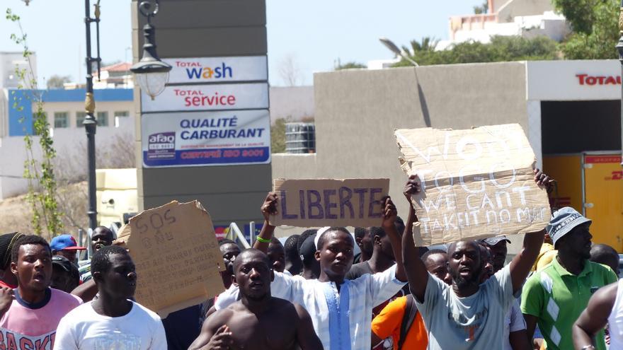 Manifestación en Tánger el pasado 30 de agosto contra los ataques racistas que acabaron con la vida de un senegalés y dejaron al menos 10 heridos/ Foto cedida