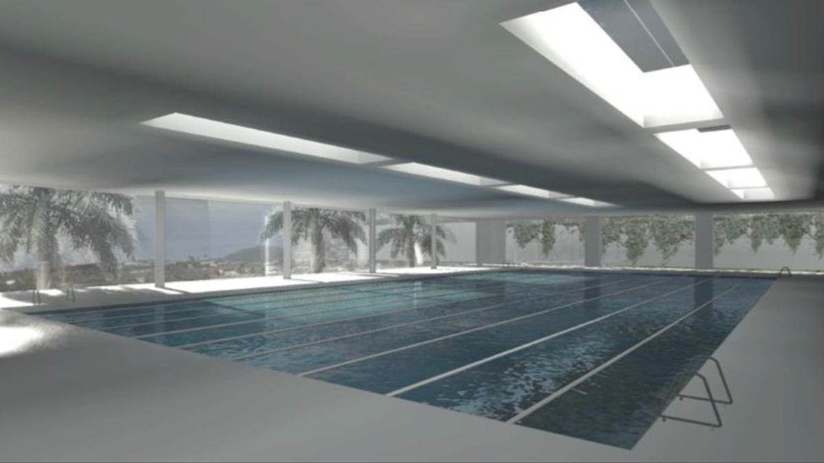 Recreación de la piscina.