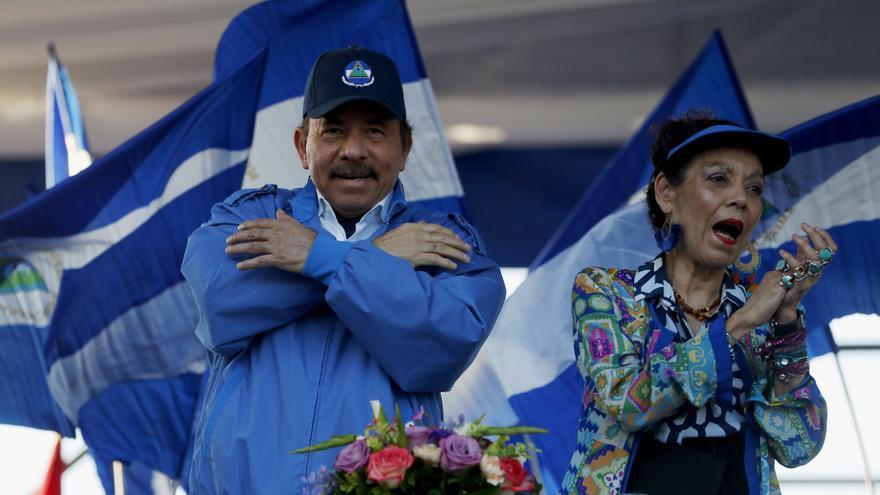 Daniel Ortega y Rosario Murillo durante un acto con simpatizantes en Managua, Nicaragua
