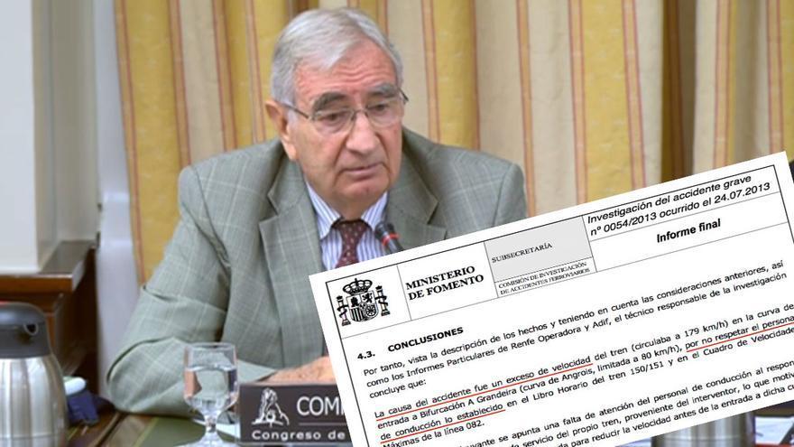 Fernando Montes Ponce de León, presidente de la CIAF, e informe emitido tras el accidente considerando el despiste del maquinista como única causa del mismo