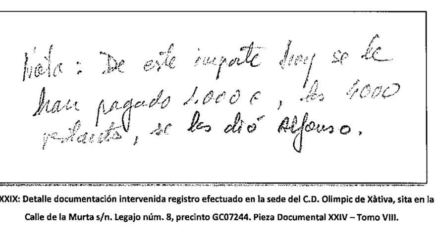 Anotación manuscrita intervenida por la Guardia Civil en el registro del Olimpic de Xàtiva.
