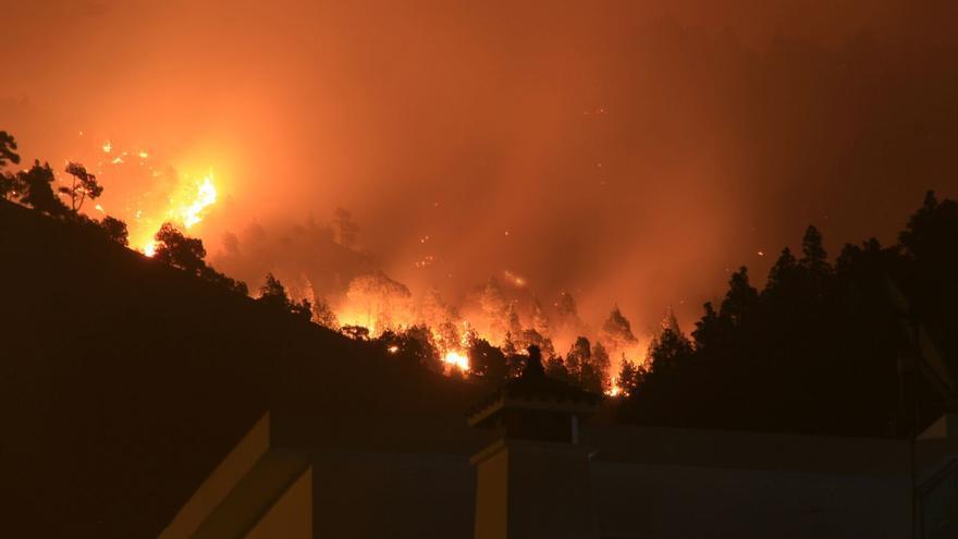 Las llamas son avivadas por el viento caliente.