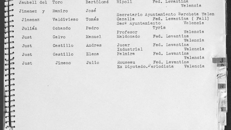 Anotación sobre el exministro Julio Just Jimeno en la lista de masones enviada por las autoridades nazis.