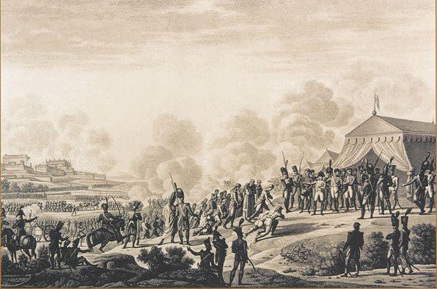 Imagen de la rendición de Madrid ante Napoleón en Chamartín.