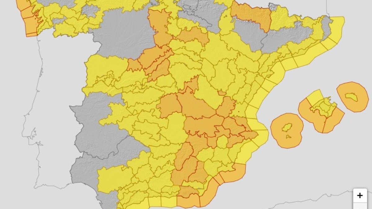 AEMET emite avisos de nivel amarillo y naranja por fuertes vientos