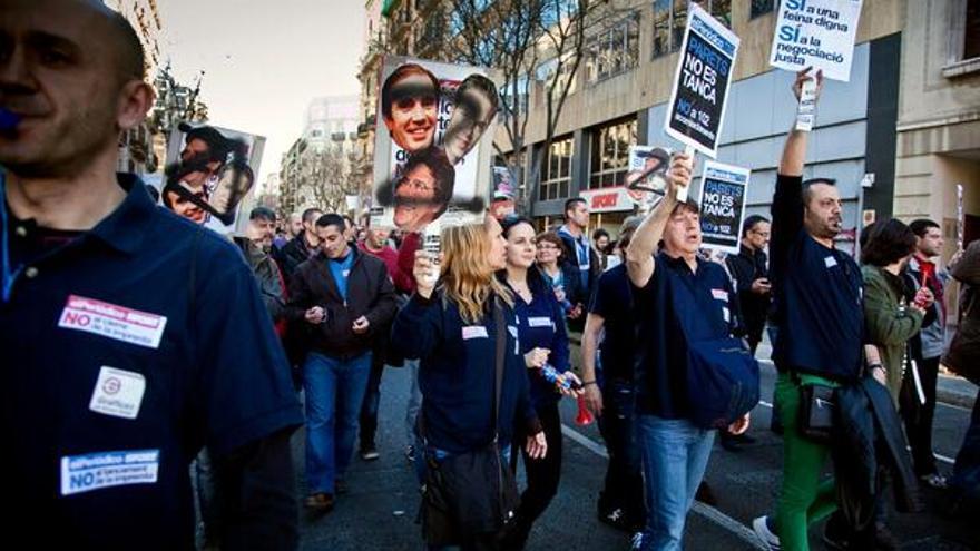 Imagen de una de las protestas en relación con el cierre de la rotativa de Parets. (Foto: @ComitePeriodico)