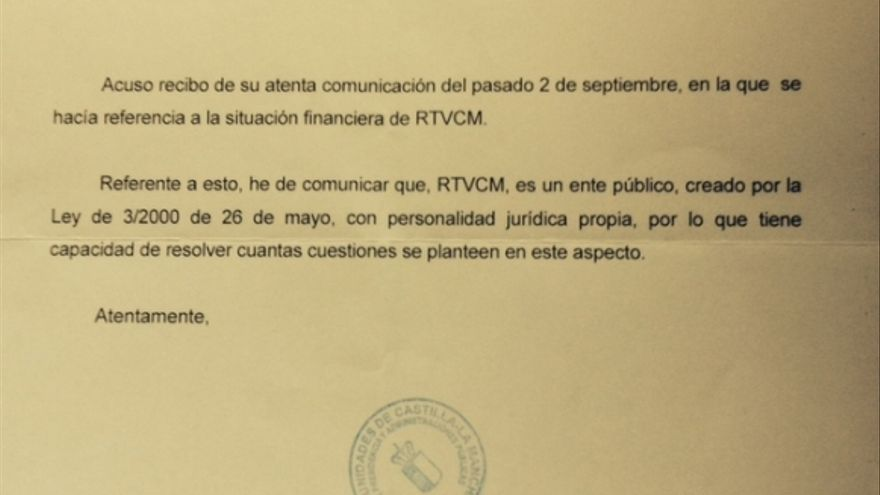 Carta de Consejería de Presidencia de Castilla-La Mancha en respuesta a Comité de Empresa CMT / Foto: Comité de Empresa CMT