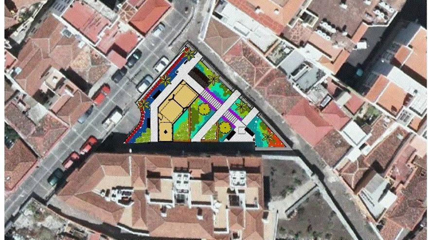 En la imagen, vista aérea de San Sebastián con la ubicación del jardín.