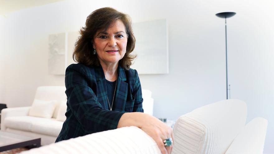 La vicepresidenta del Gobierno, Carmen Calvo, durante la entrevista con eldiario.es.
