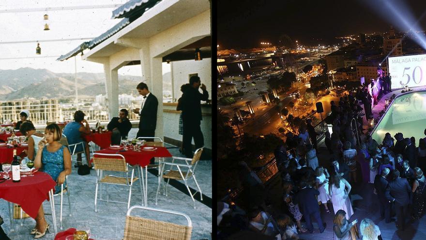 Antes y después. Dos fotografías del hotel Málaga Palacio.