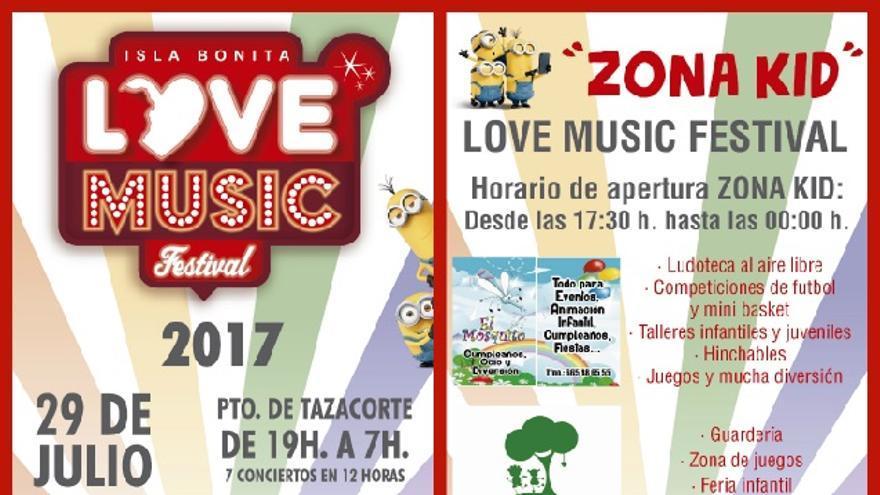 Cartel de la 'Zona Kid' de Love Festival.