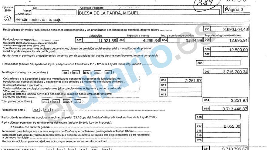 Fragmento de la declaración de la renta de Miguel Blesa correspondiente al ejercicio 2010