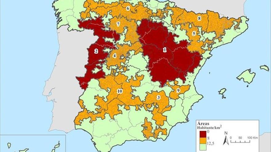 Áreas escasamente pobladas de España en 2018