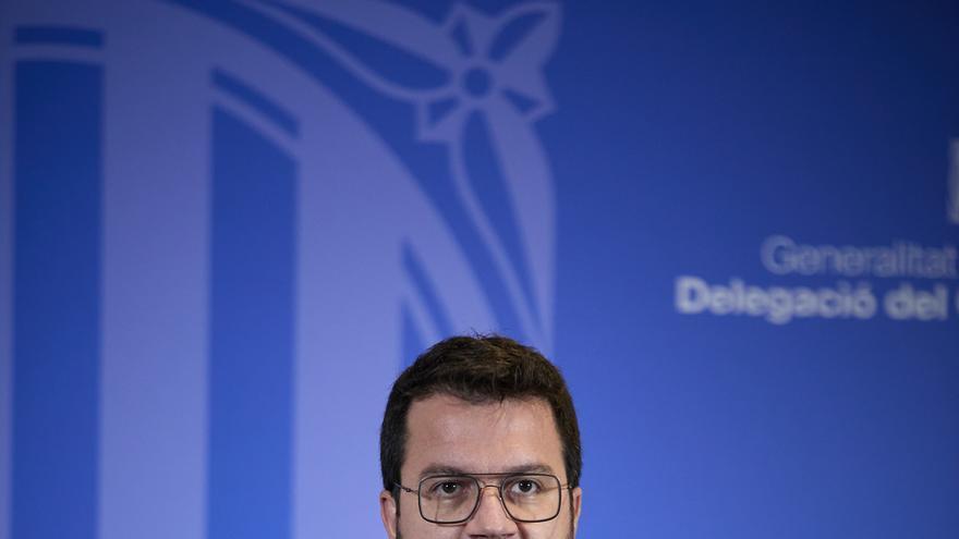 El president de la Generalitat catalana, Pere Aragonès  ofrece una rueda de prensa en la librería Blanquerna tras la reunión mantenida con el presidente del Gobierno, a 29 de junio de 2021, en Madrid (España). Ambos mandatarios se han reunido hoy por prim