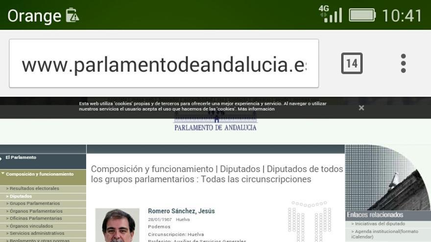 Parlamento de Andalucía: agenda de diputado de Podemos.