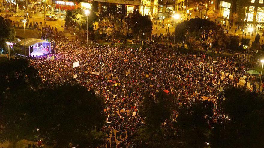 La marcha a su llegada a plaza Catalunya