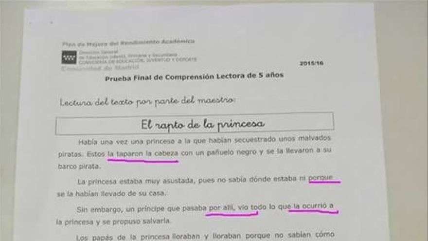 Prueba para cinco años de comprensión lectora de la Comunidad de Madrid.