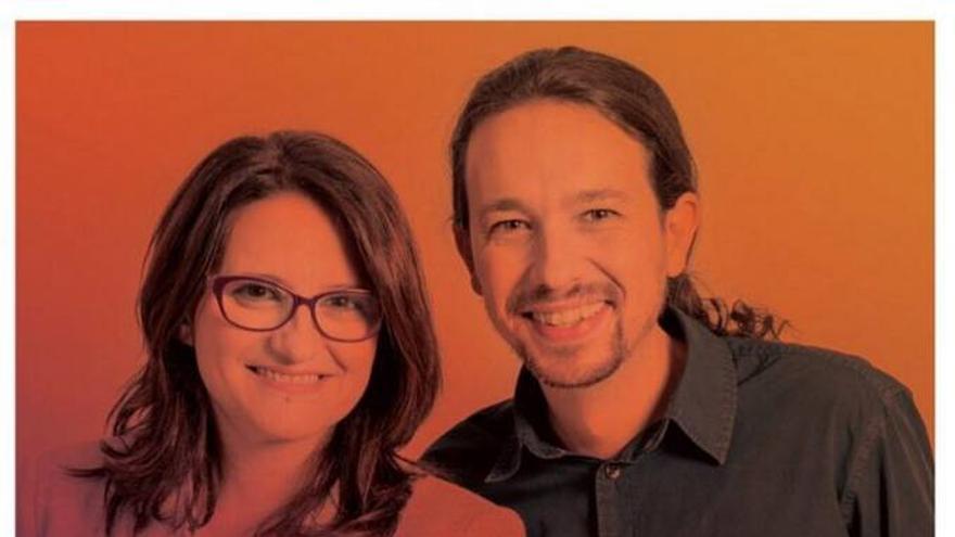 Cartel electoral con Mónica Oltra y Pablo Iglesias