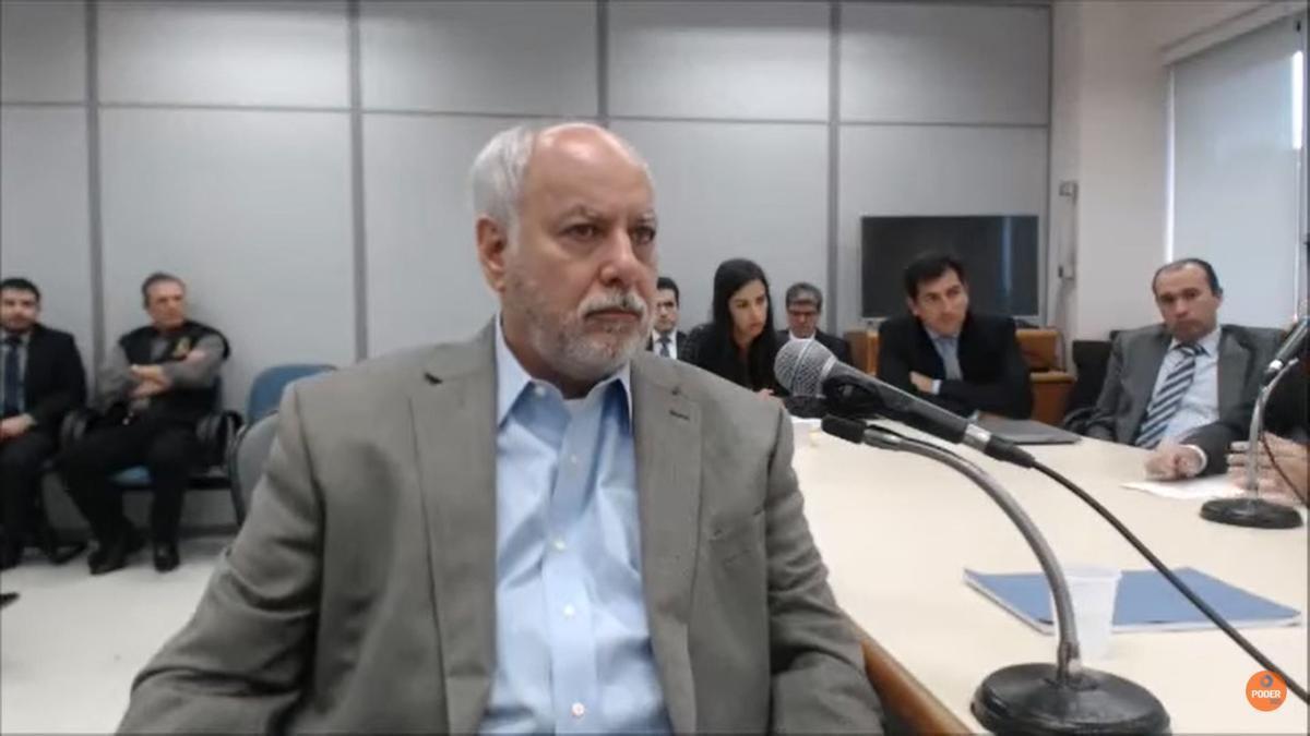 Duque, durante una de sus declaraciones como imputado colaborador en Brasil, previa a la del 25 de agosto. Está condenado por delitos de corrupción.