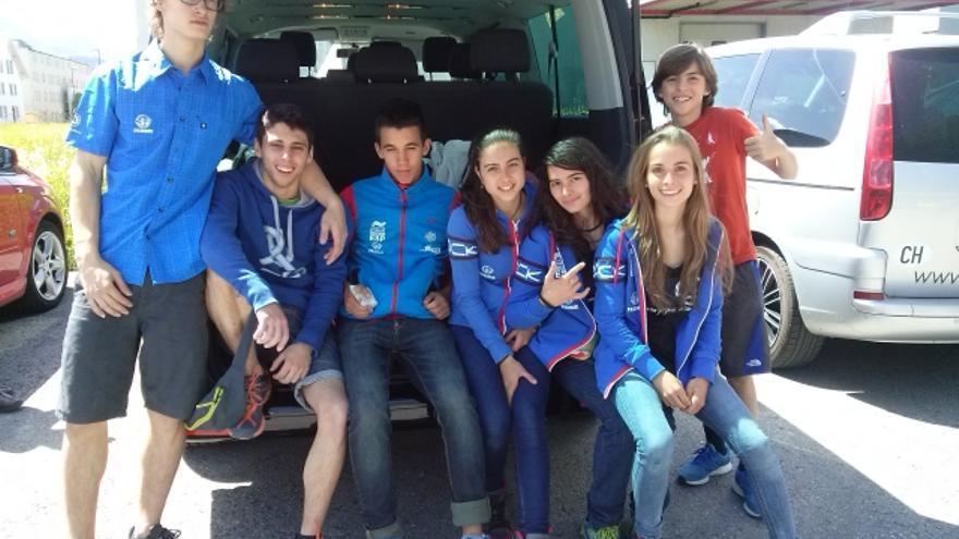 Equipo español para la Copa de Europa de Escalada Juvenil.