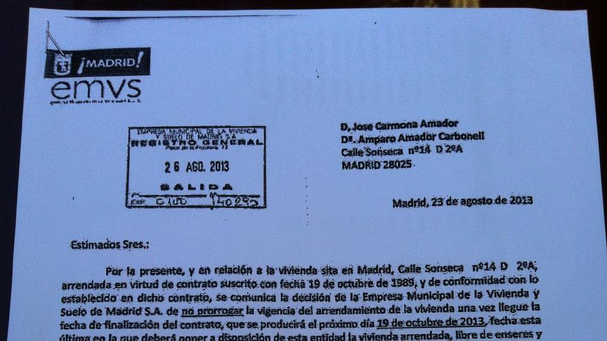 Documento remitido por la EMVS a la familia de Amparo comunicando la decisión de no prorrogar el contrato