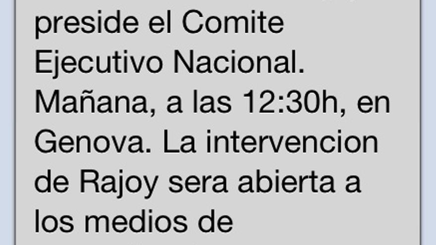 SMS del PP anunciando la comparecencia abierta a medios (y no una rueda de prensa) de Mariano Rajoy