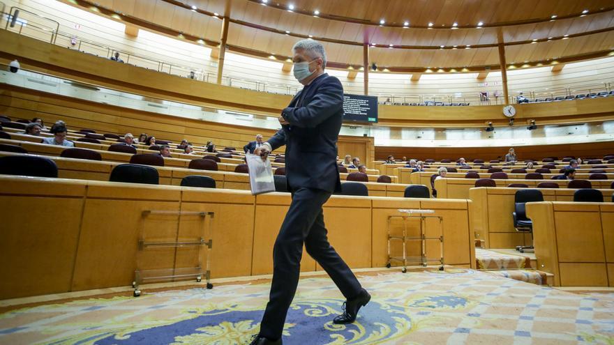 El ministro del Interior, Fernando Grande-Marlaska, en el Pleno del Senado.