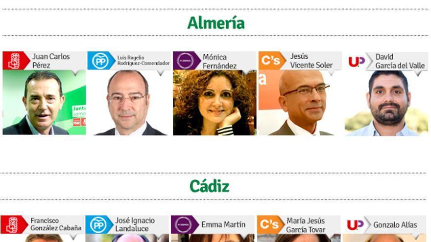GRÁFICO | Estos son los 'cabezas de lista' que aspiran al Senado por cada provincia andaluza