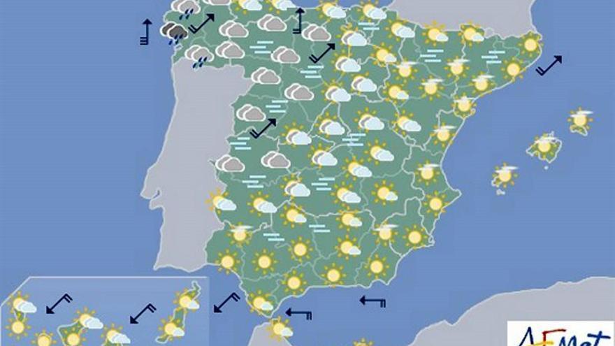 Tiempo estable hoy en casi todo país, salvo lluvias en noroeste peninsular