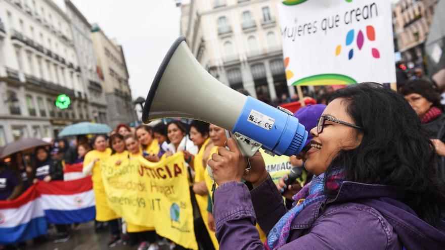 Manifestación de las empleadas del hogar este domingo en Sol