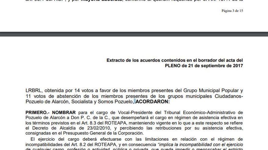 Acta del Pleno de Pozuelo con el nombramiento de Pablo Chico de la Cámara.