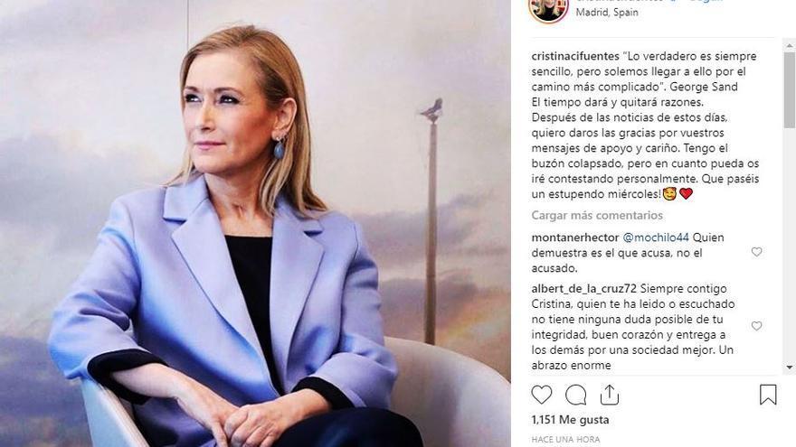 Publicación de Instagram de Cristina Cifuentes