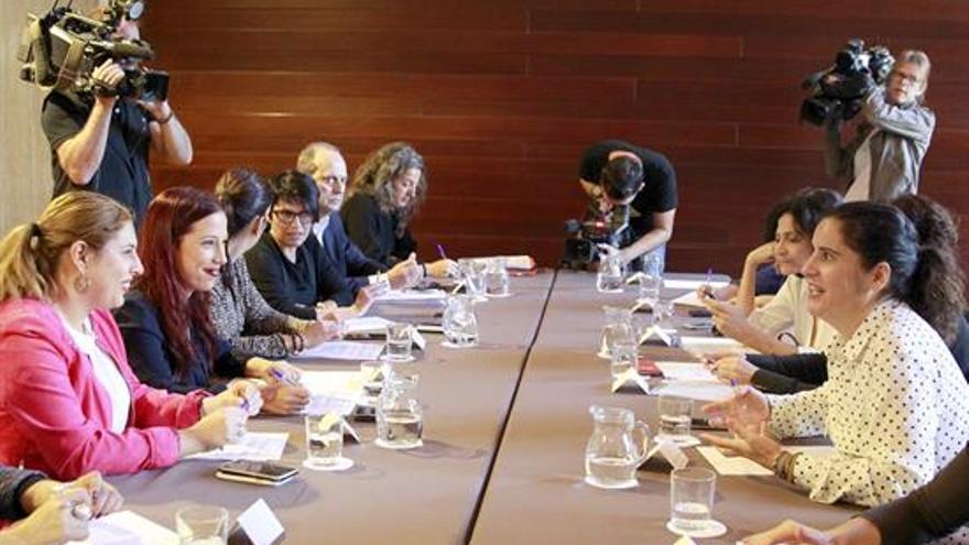 La vicepresidenta del Gobierno de Canarias, Patricia Hernández (2i), durante la reunión mantenida hoy junto a los consejeros de Servicios Sociales de los siete cabildos para abordar el diseño del catálogo de servicios y costes para la atención de personas dependientes y con discapacidad. EFE/Cristóbal García