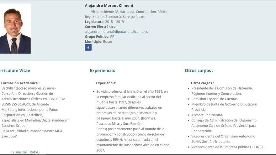 El currículum del diputado provincial del PP en Alicante Alejandro Morant colgado en la página web de la diputación alicantina