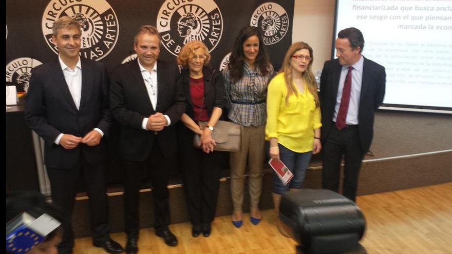 Ortega, Carmona, Carmena, Villacis, Lopez y Henriquez de Luna, antes del debate