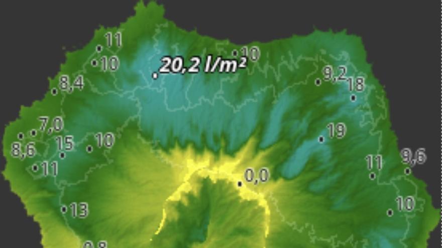 Mapa de HD Meteo La Palma del agua caída, hasta las 16:20 horas de este jueves, en distintos puntos de la Isla.