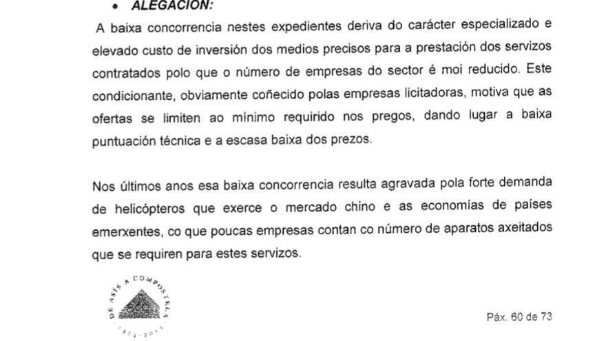 Alegaciones de la Xunta al informe del Consello de Contas justificando la baja competencia en el sector