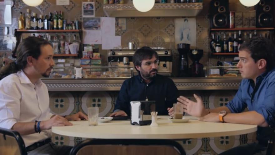 Un momento del debate entre Albert Rivera y Pablo Iglesias en Salvados.