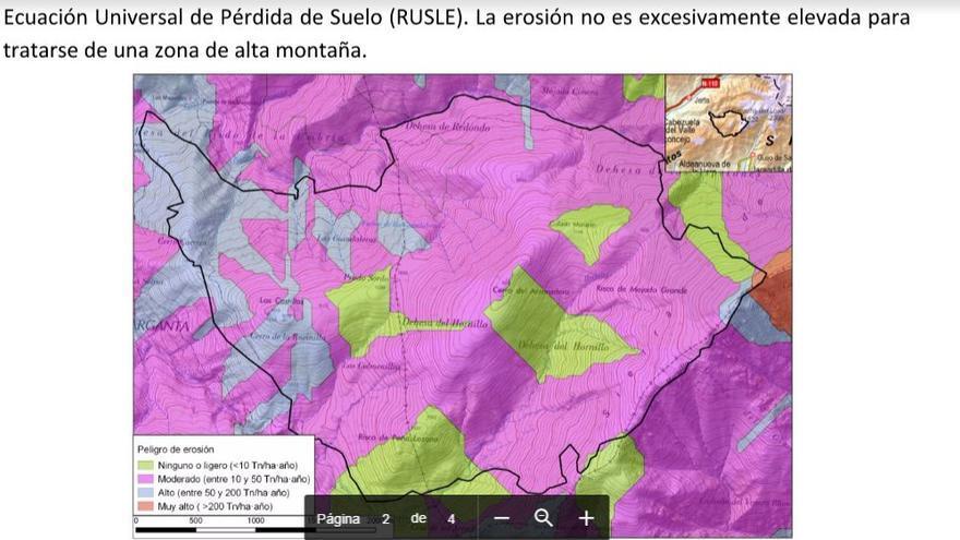 mapa erosion Garganta Infiernos Jerte Extremadura