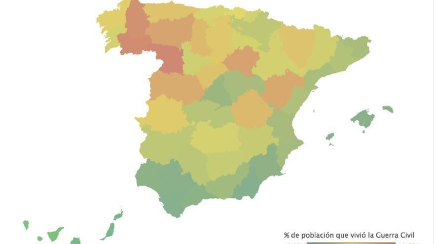 Mapa: En España quedan 3,7 millones de personas que vivieron la guerra