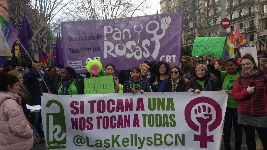 Las Kellys en una protesta en Barcelona durante el rodaje del documental