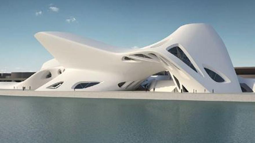 Proyección virtual del museo que albergaría el complejo