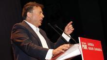 El candidato del PSOE a presidente del Cabildo de Gran Canaria, Luis Ibarra, este sábado en un acto electoral.