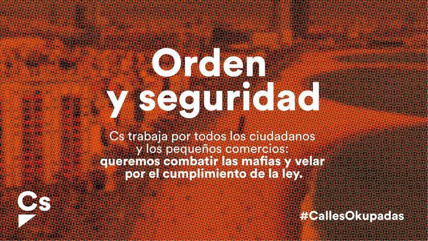 """Imagen de la campaña de Ciudadanos de """"Orden y seguridad"""", difundida por Twitter"""