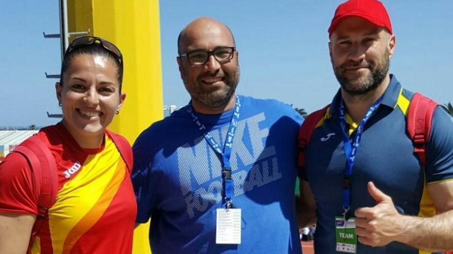 David Montelongo en la European Throwing Cup Gran Canaria 2017 con Manolo Martínez y Úrsula Ruiz