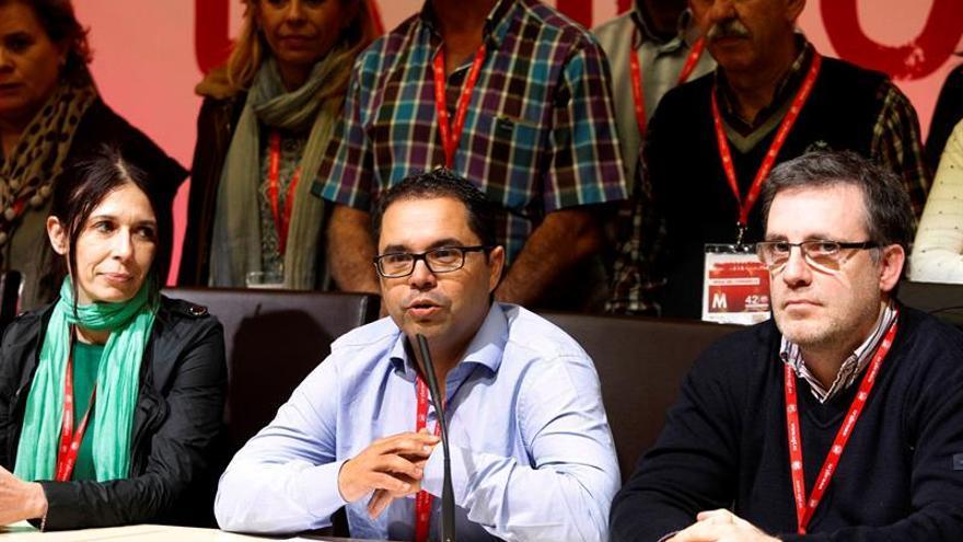 El secretario general de UGT Canarias, Gustavo Santana, durante la rueda de prensa que ofreció en el marco del 42 Congreso Confederal de UGT