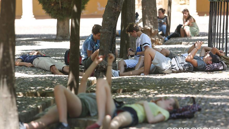 Turistas descansando del calor en el patio de los Naranjos   MADERO CUBERO