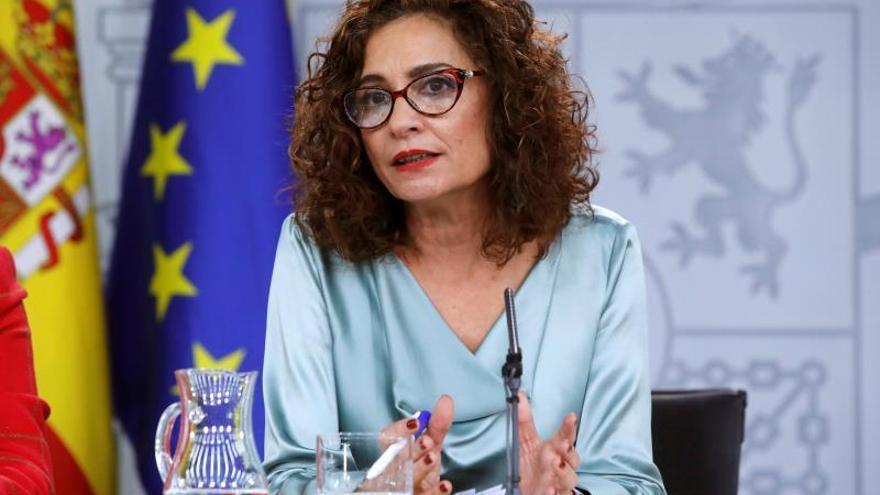 María Jesús Montero, en una rueda de prensa en Moncloa