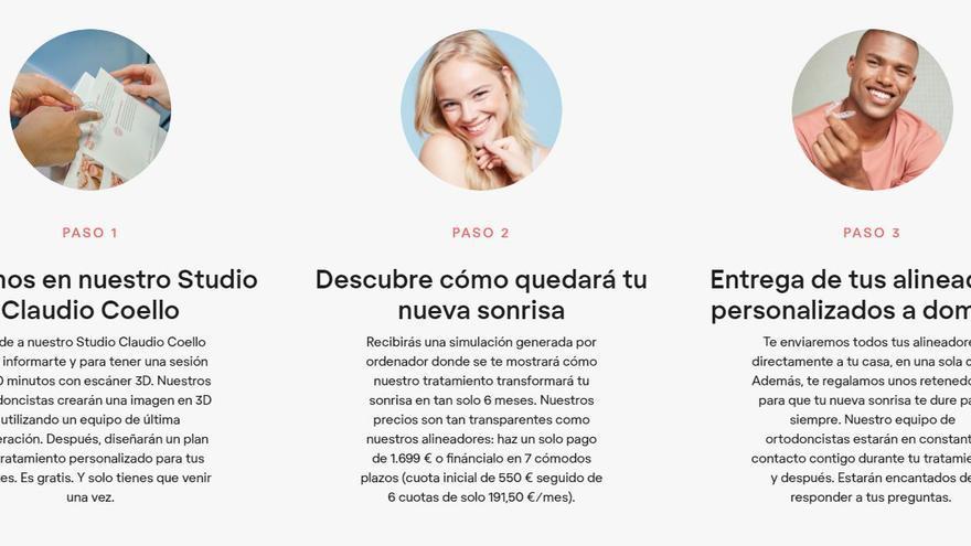 """La web de FrankSmile en España, que aún muestra su """"antiguo"""" modelo de negocio"""